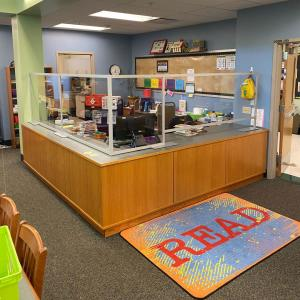 School Library Counter with Acrylic Safety Dividers Using Engineered Aluminum Extrusion Frames (Modular Construction)