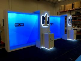Re-configurable Custom Exhibit with LED Lightboxes, Monitor Mounts, Cabinet Storage, MOD-1329 iPad Swivel Mounts, and Fabric and Vinyl Graphics